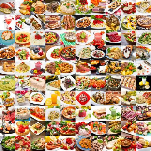 Plakat kolaż różnych zdjęć jedzenia, dania kuchni śródziemnomorskiej