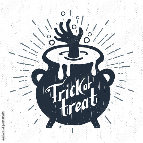 Poster Halloween Hand drawn Halloween label with textured cauldron vector illustration and