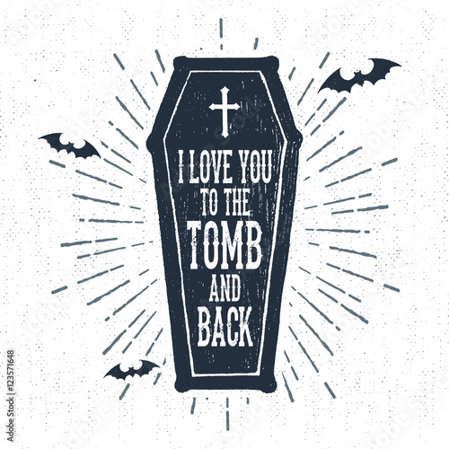 Poster Halloween Hand drawn Halloween label with textured coffin vector illustration and