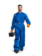 Professional service man with toolbox isolated