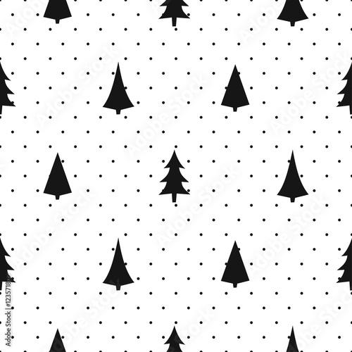 czarno-bialy-prosty-wzor-boze-narodzenie-rozne-swieta-drzewa-szczesliwego-nowego-roku-polka-kropki-tlo-wektor-wzor-na-tekst
