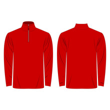 Half-Zipper Long Sleeve Red Shirt Isolated Vector On The White Background