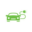 electric car automobile eco automobile green simple icon on whit