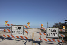 Road Closure Sign On Old A1A Highway In Summer Haven After Hurricane Matthew