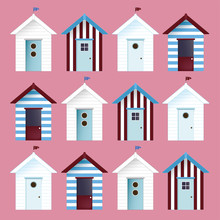 Multicolor Beach Huts. Vector Pattern