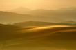 Tuscany Landscape at Sunrise, Morning Fog, Val d'Orcia, Tuscany, Italy