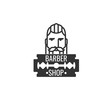 Hairstyle Man with Mustache and Beard. Barber Shop Logo.
