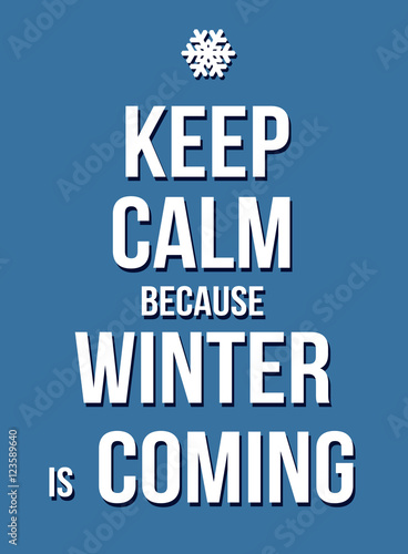Valokuva  Keep calm because winter is coming poster