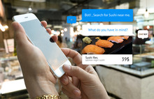Chat Bot And Future Marketing Concept . Customer Hand Holding Smart Phone For Order Sushi And Popup Out Tablet Screen With Automatic Chatbot Message Screen , Department Store Background