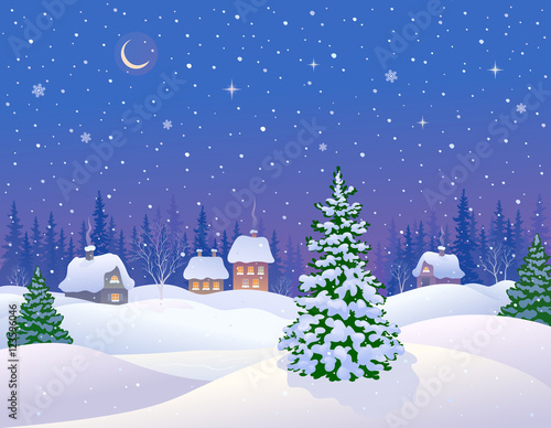 Poster Purper Winter night landscape