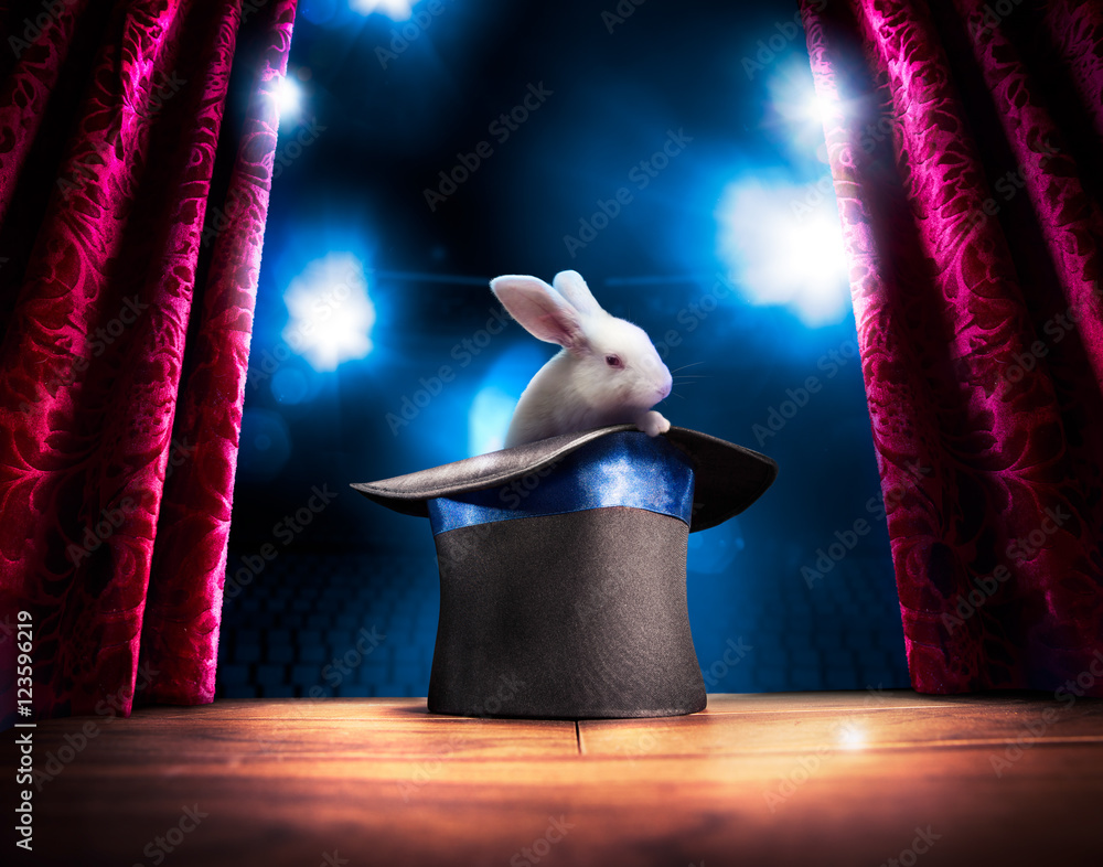 Fototapety, obrazy: High contrast image of magician hat on a stage