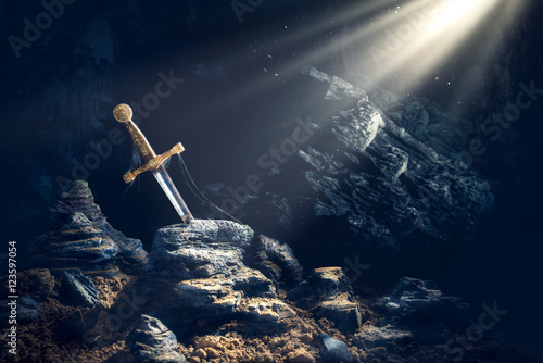 Foto op Canvas Paarden sword in the stone excalibur