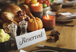 Reserved Sign Roasted Tuekey Thanksgiving Table Setting Concept