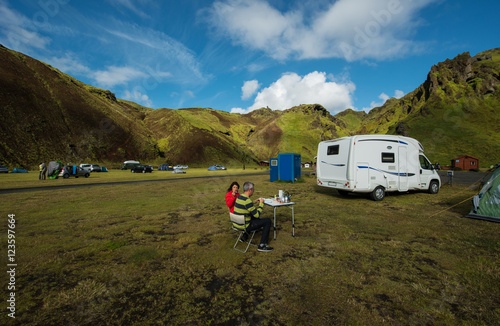 Foto op Canvas Kamperen Camp in Southern Iceland