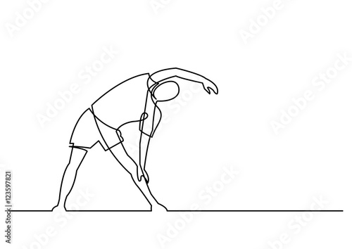 Fotografie, Obraz  continuous line drawing of exercising man