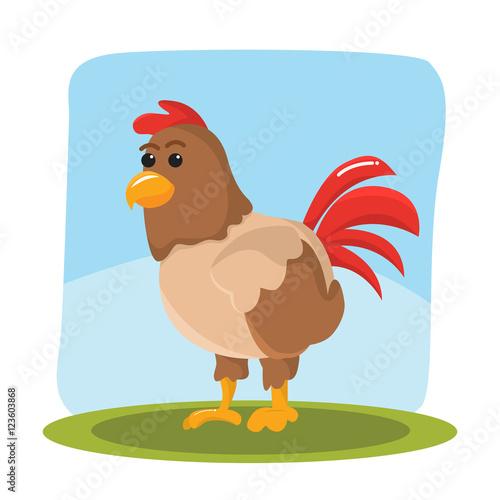 Autocollant pour porte Ferme chicken character vector illustration design