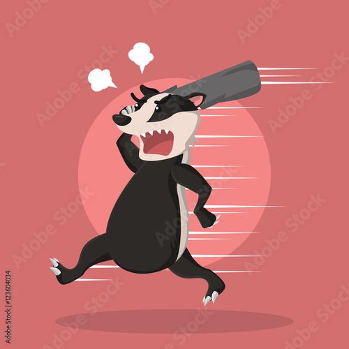 Tablou Canvas angry honey badger vector illustration design