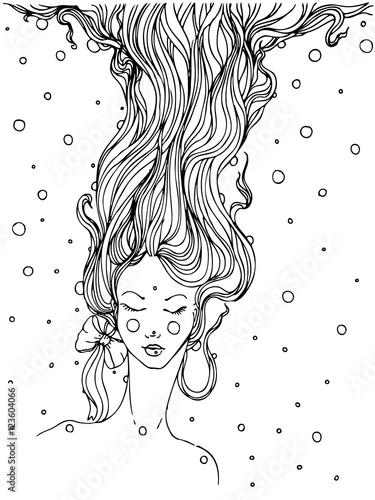 recznie-rysowana-kobieca-twarz-z-bujnymi-bardzo-dlugimi-slowami
