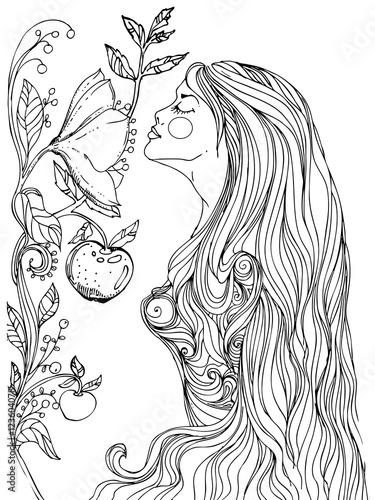 kobieta-z-niekonczacymi-sie-wlosami-wachajaca-niespotykana-rosline