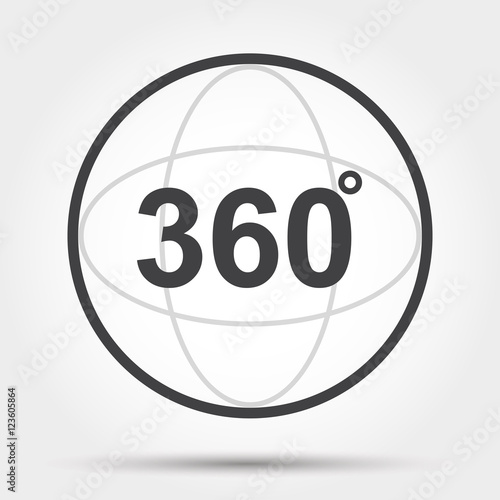 Fotografia  360 degrees view sign icon