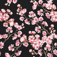 Obraz na Plexi Florystyczny Seamless pattern with cherry blossoms. Watercolor illustration.