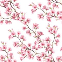 Panel Szklany Optyczne powiększenie Seamless pattern with cherry blossoms. Watercolor illustration.
