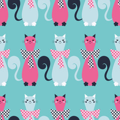 Seamless vector background with decorative cats and hearts. Bow polka dot. Print. Repeating background. Cloth design, wallpaper.