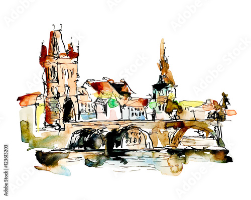 Photo watercolor freehand sketch drawing of Prague Czech Republic top
