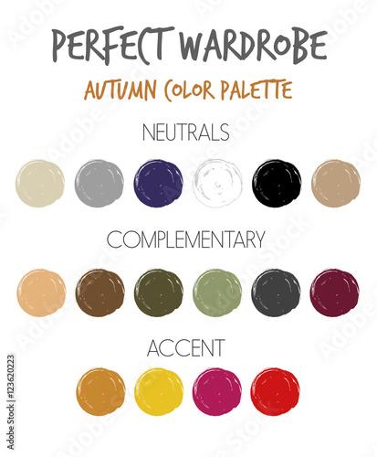 Wardrobe seasonal color palette vector - autumn - Buy this ...