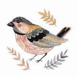 Watercolor cute little bird with floral branches - 123621004