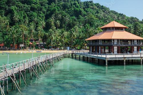 Fototapety, obrazy: Wooden jetty on exotic beach