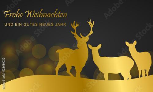 Foto-Doppelrollo - Weihnachten - Karte mit Rentieren (Gold) (von ii-graphics)
