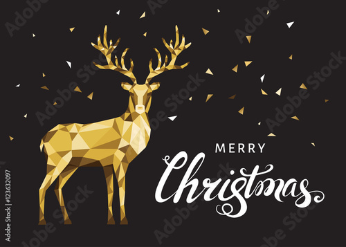 Christmas greeting card with gold polygonal deer on black back