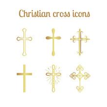 Golden Christian Cross Icons Isolated Set. Vector Illustration