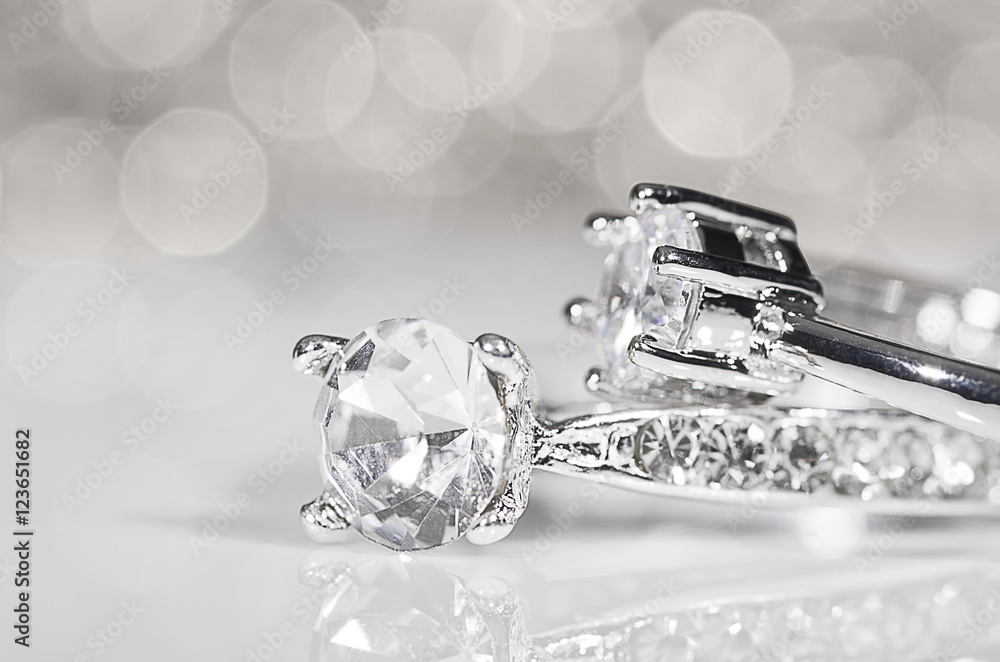 Photo  Rings of silver with diamonds.