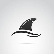 Shark's Fin Vector Icon.