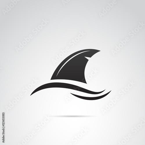 Fototapeta premium Ikona wektora płetwy rekina.
