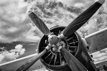 Close up of old airplane in...