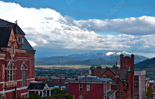 Historic red brick buildings in Butte Montana