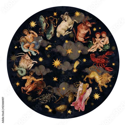 Obraz Zodiac circle - complete set of 12 signs. Watercolor Illustration.  - fototapety do salonu