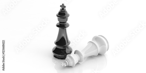 Fotografie, Obraz  Chess kings on white background. 3d illustration