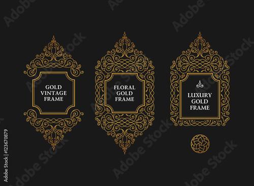 Arabic vector set of frames lines art design templates Fototapeta
