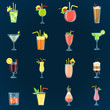 Set of different color cocktails icons. Flat design. Modern concept for web and mobile