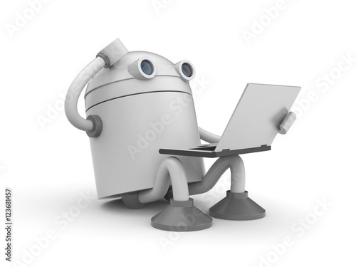 Photo  The robot is sitting with laptop and thinking about something