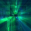 canvas print picture Abstract futuristic background with green and blue rays