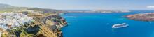 Nea Kameni Volcanic Island In Santorini Greece