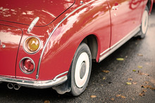 Close Up Of A Red Vintage Car