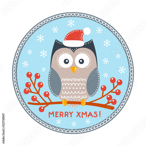 Merry Christmas card. Vector hand drawn winter card with cute owl ...
