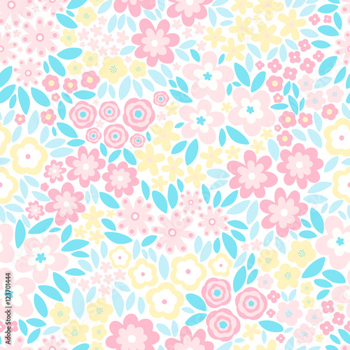 Vector Seamless Pattern With Flat Flowers And Leaves Cute Floral