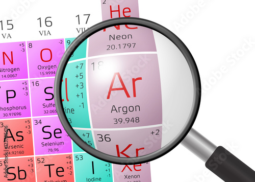 Photo Element of Argon with magnifying glass